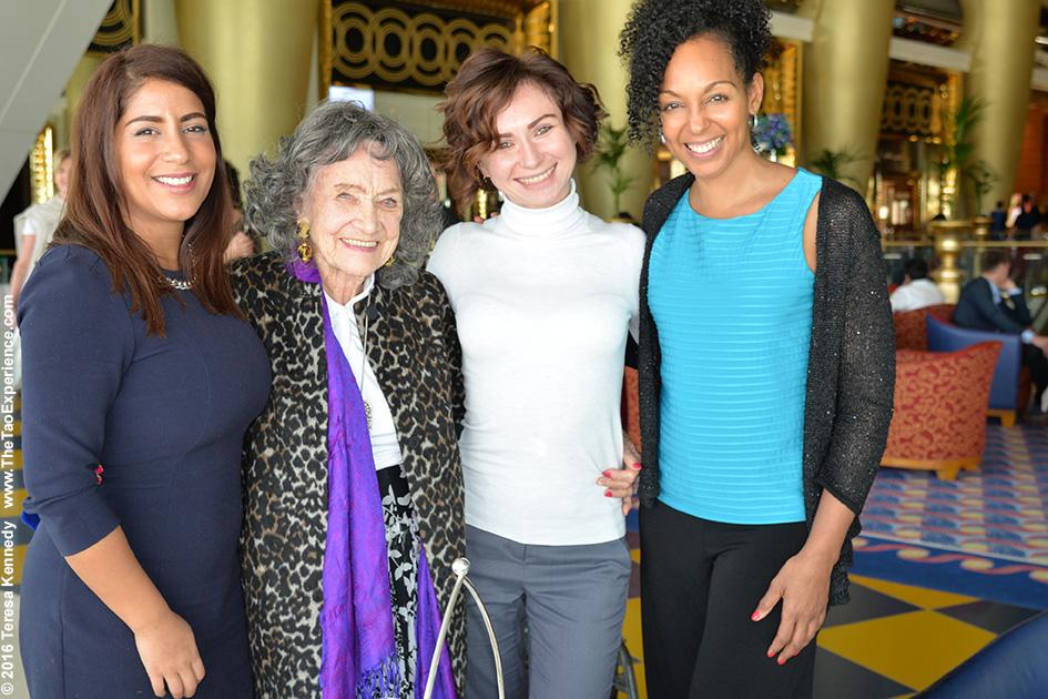 High Tea at the Burj Al Arab in Dubai with 97-year-old Yoga Master Tao Porchon-Lynch, Teresa Kay-Aba Kennedy, Nina Badri and Noor Al Fardan – February 18, 2016