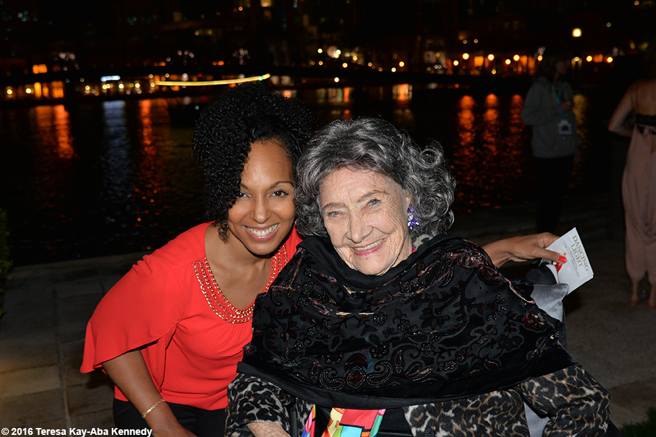 97-year-old Yoga Master Tao Porchon-Lynch and Teresa Kay-Aba Kennedy at XYoga Dubai Festival Reception at Palace Hotel in Dubai – February 19, 2016