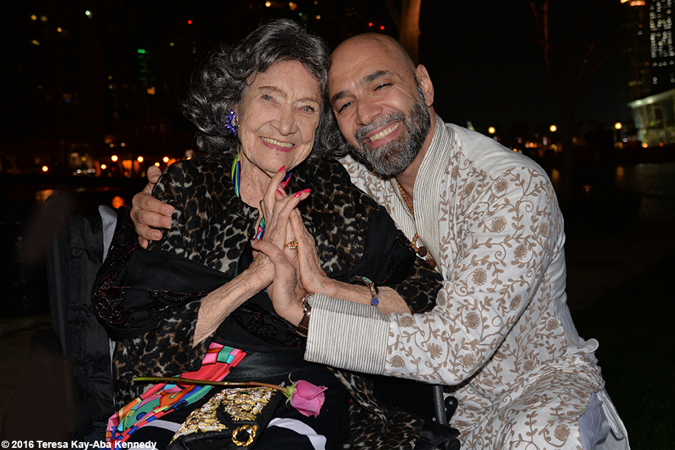 97-year-old Yoga Master Tao Porchon-Lynch and Pierre Ravan at XYoga Dubai Festival Reception at Palace Hotel in Dubai – February 19, 2016