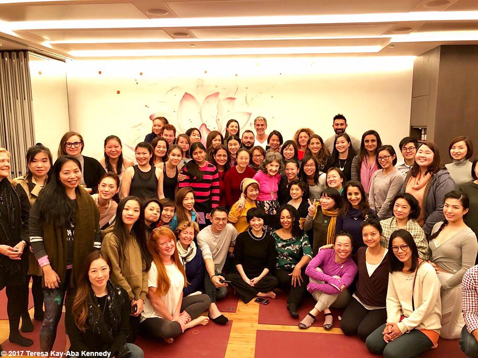 Class picture for Conversation with a Master with 99-year-old yoga master Tao Porchon-Lynch and moderated by Teresa Kay-Aba Kennedy at Pure Yoga in Hong Kong - December 18, 2017