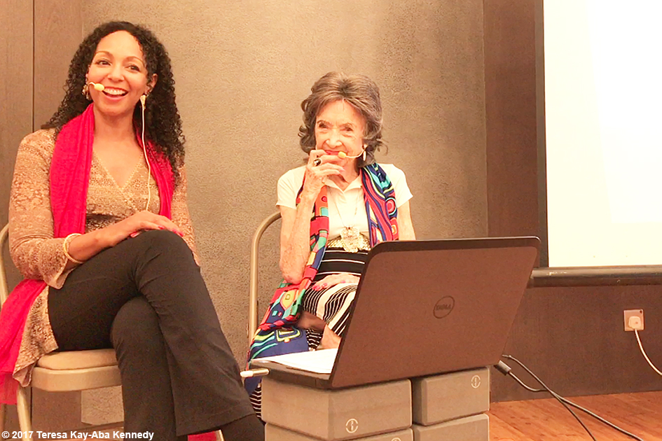 Teresa Kay-Aba Kennedy moderating The Gandhi Effect with 99-year-old yoga master Tao Porchon-Lynch at Pure Yoga in Hong Kong - December 18, 2017