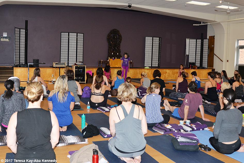 99-year-old Tao Porchon-Lynch teaching yoga at Kripalu Center for Yoga & Health in Lenox, MA - December 2, 2017