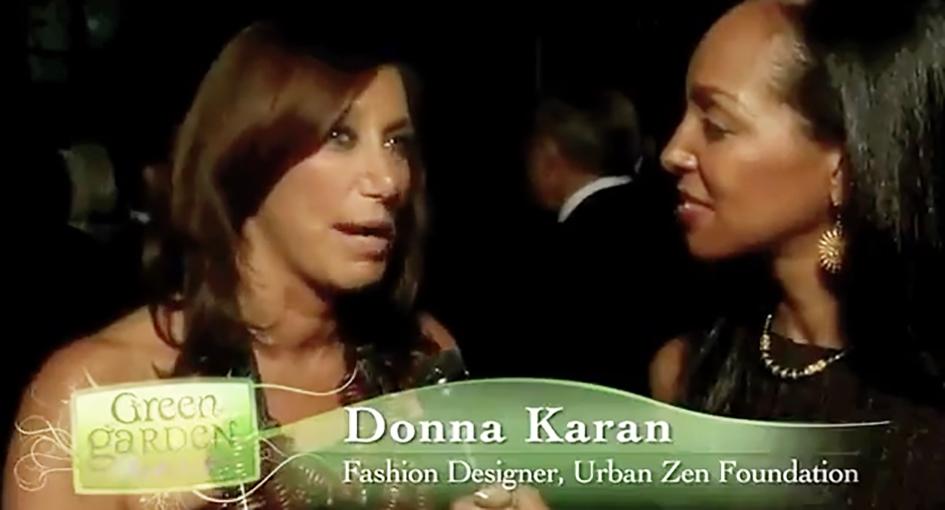 Teresa Kay-Aba Kennedy interviewing designer Donna Karan at the HealthCorps Green Garden Gala in New York - April 20, 2009