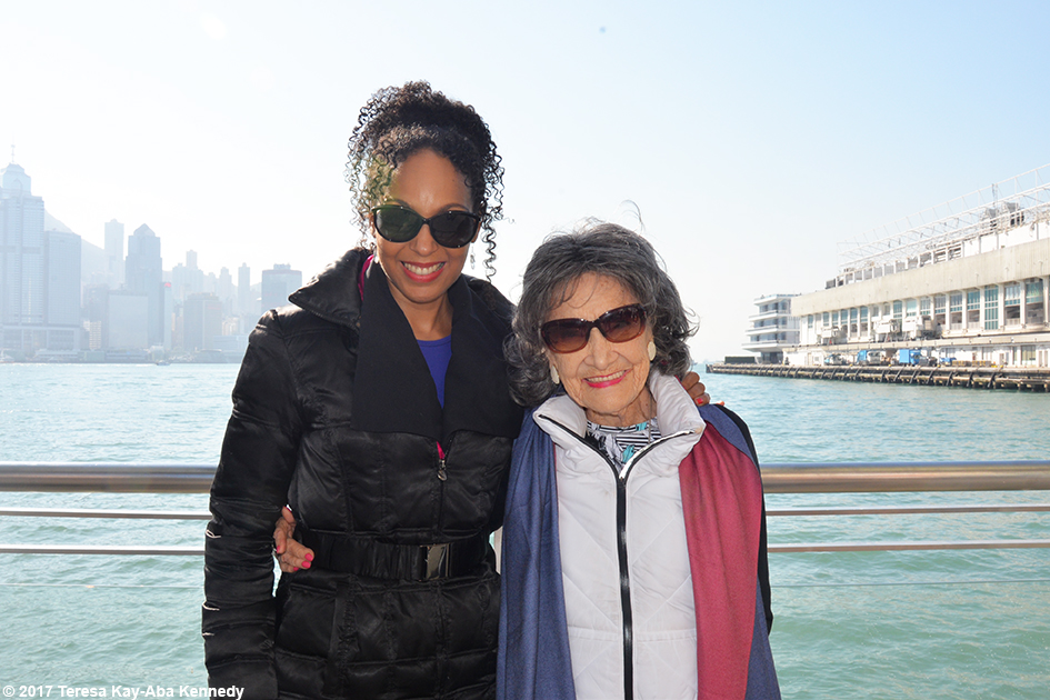 Teresa Kay-Aba Kennedy and 99-year-old yoga master Tao Porchon-Lynch at Star Ferry Harbour in Hong Kong - December 19, 2017
