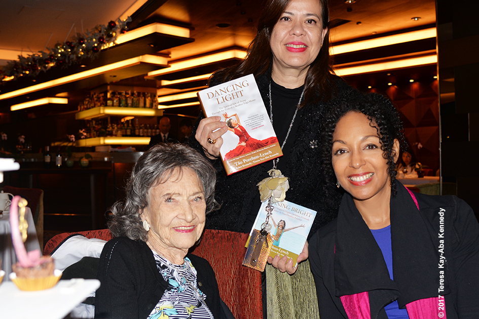 99-year-old yoga master Tao Porchon-Lynch, Michele Mitschiener and Teresa Kay-Aba Kennedy in Hong Kong - December 19, 2017