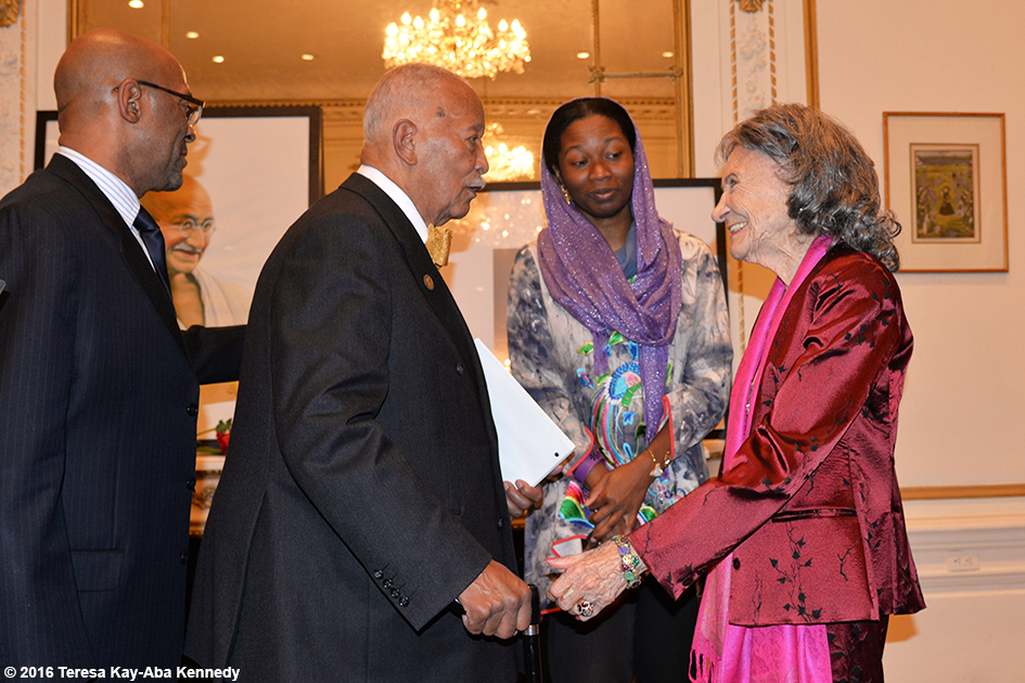 Mayor David Dinkins and 98-year-old yoga master Tao Porchon-Lynch at Indian Consulate in New York for International Day of Nonviolence event - October 2016
