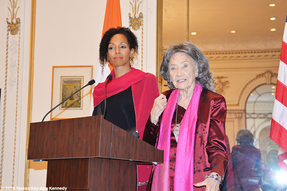 Teresa Kay-Aba Kennedy moderating discussion with 98-year-old yoga master Tao Porchon-Lynch for International Day of Nonviolence event at the Indian Consulate in New York - October 2016