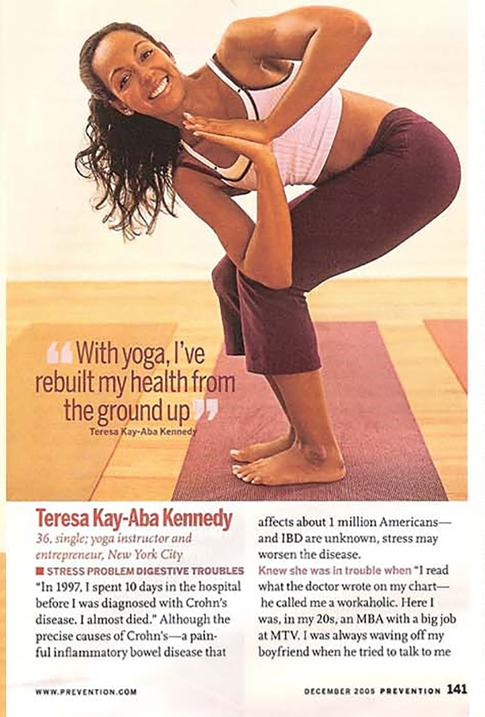 Teresa Kay-Aba Kennedy featured in Prevention Magazine - December 2005