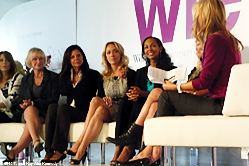 Teresa Kay-Aba Kennedy speaking on a panel with Marianne Williamson, Dr. Susan Smalley, Dr. Hyla Cass, Kris Carr, Amanda De Cadet and Kathy Freston at the WIE Symposium in New York - September 20, 2010