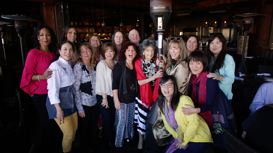 Participants at Mariposa Restaurant luncheon with 99-year-old yoga master Tao Porchon-Lynch as part of the Sedona Yoga Festival – February 8, 201