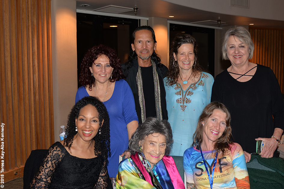 Teresa Kay-Aba Kennedy, Valerie Romanoff, Jesse Kalu, Ruth Hartung, Ginny Beal, and Heather Titus with 99-year-old yoga master Tao Porchon-Lynch at the Sedona Yoga Festival – February 9, 2018