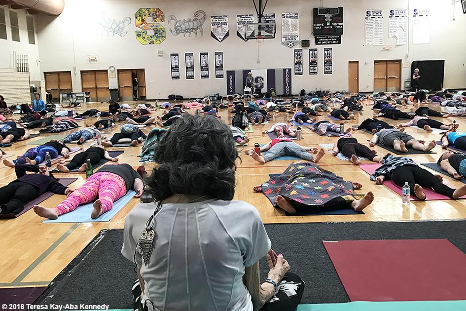 99-year-old yoga master Tao Porchon-Lynch teaching at the Sedona Yoga Festival – February 10, 2018