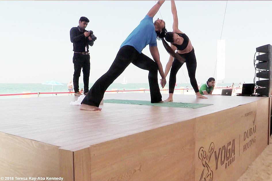Teresa Kay-Aba Kennedy teaching Breathe & Burn Vinyasa Yoga session at XYoga Dubai Festival on Kite Beach - March 16, 2018