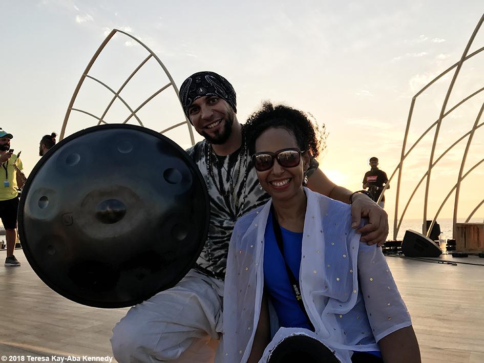 Teresa Kay-Aba Kennedy and Egyptian musical Sherif El Moghazy at the XYoga Dubai Festival on Kite Beach - March 16, 2018