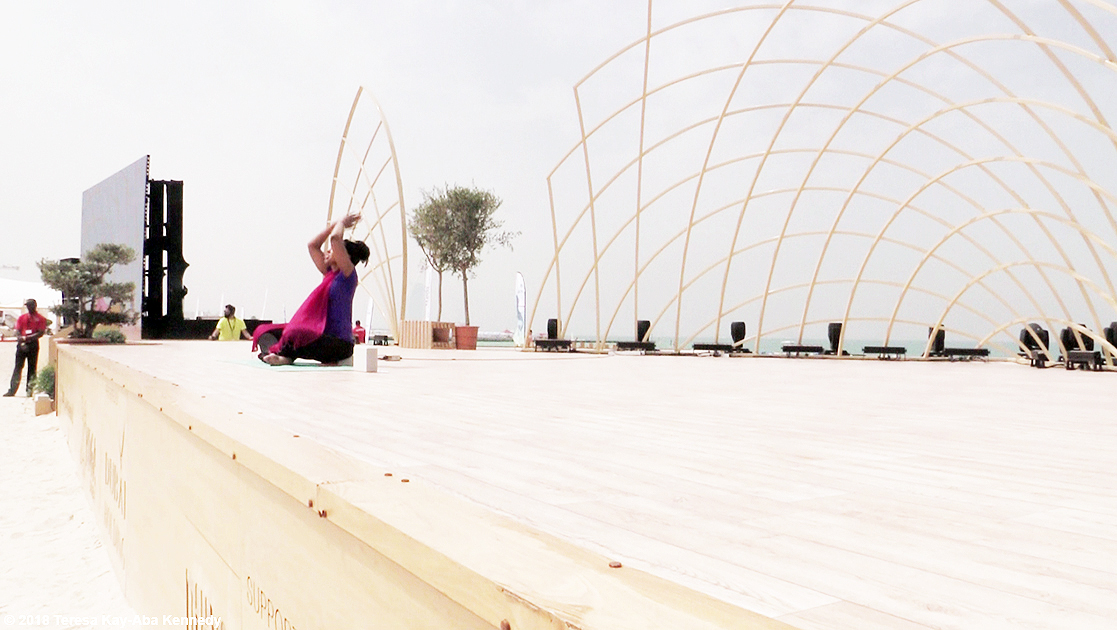 Teresa Kay-Aba Kennedy teaching her Blissful Vibrations class at the XYoga Dubai Festival on Kite Beach - March 17, 2018