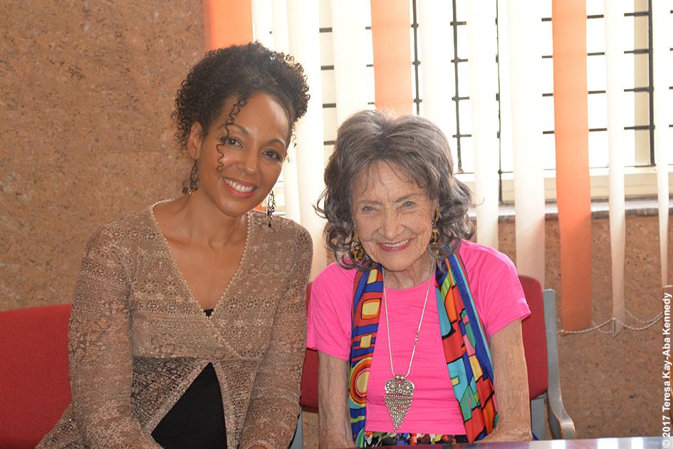 Teresa Kay-Aba Kennedy and 98-year-old yoga master Tao Porchon-Lynch at the Siddaganga Matha after meeting 110-year-old Shivakumara Swami in Karnataka, India - June 23, 2017
