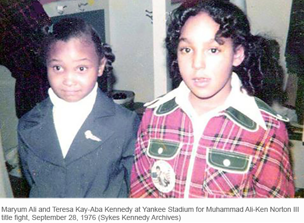 Maryum Ali and Teresa Kay-Aba Kennedy at the Ken Norton fight in New York - September 28, 1976