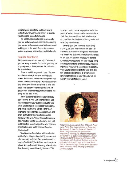 Teresa Kay-Aba Kennedy contributes to Pure Inspiration Magazine