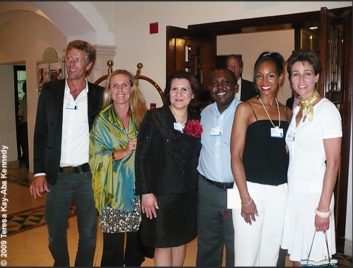Teresa Kay-Aba Kennedy with fellow Young Global Leaders at dinner during the World Economic Forum on the Middle East in Jordan - May 2009