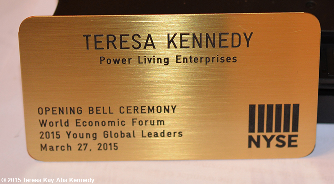 Teresa Kay-Aba Kennedy's badge for Opening Bell Ceremony of New York Stock Exchange – March 27, 2015