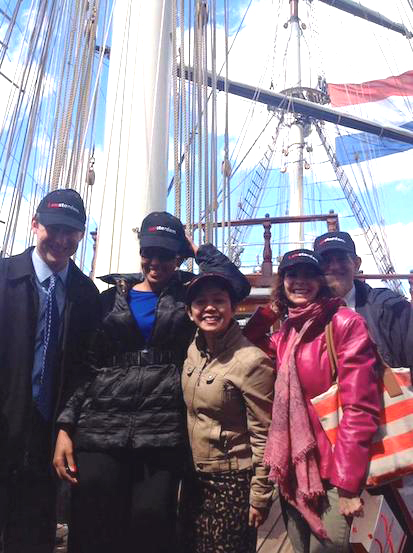 Teresa Kay-Aba Kennedy with fellow Young Global Leaders on the Stad Amsterdam ship at Pier 59 in New York - April 9, 2014