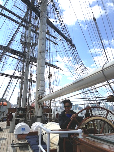 Teresa Kay-Aba Kennedy on the Stad Amsterdam ship at Pier 59 in New York - April 9, 2014