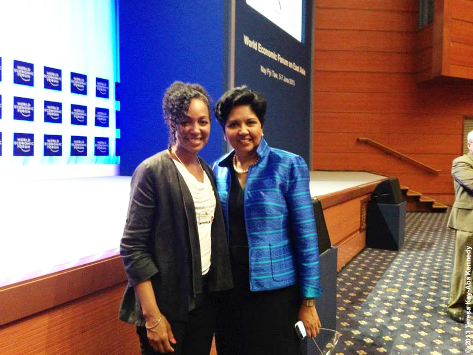 Teresa Kay-Aba Kennedy and PepsiCo Chairman & CEO Indra Nooyi at the World Economic Forum in Myanmar - June 2013