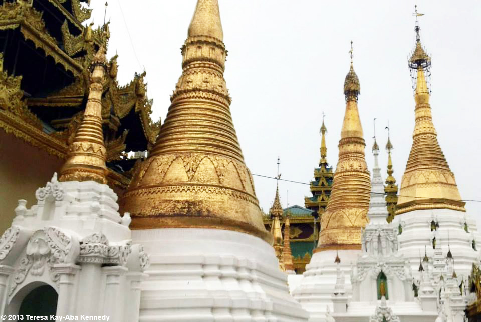 On the grounds of the Swedagon Pagoda during Young Global Leaders Summit and World Economic Forum in Myanmar - June 2013
