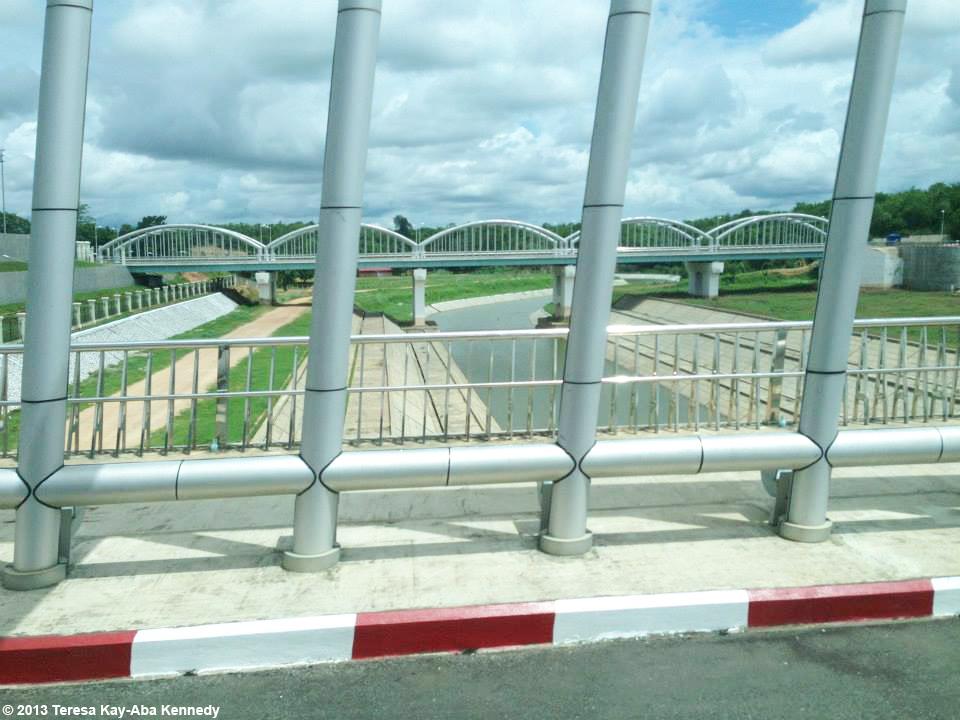 Bridge and moat at Presidential Palace in Nay Pyi Taw, Myanmar - June 2013