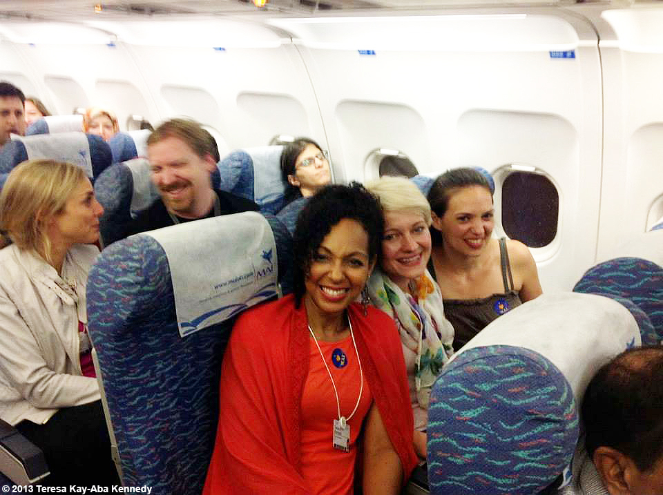 Teresa Kay-Aba Kennedy with fellow Young Global Leaders on a chartered plane from Yangon to Nay Pyi Taw en route to the World Economic Forum in Myanmar - June 2013