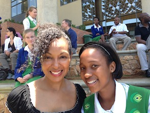 Teresa Kay-Aba Kennedy with Gomolemo at Lebone II College in South Africa during the Young Global Leaders Africa Module - November 2013