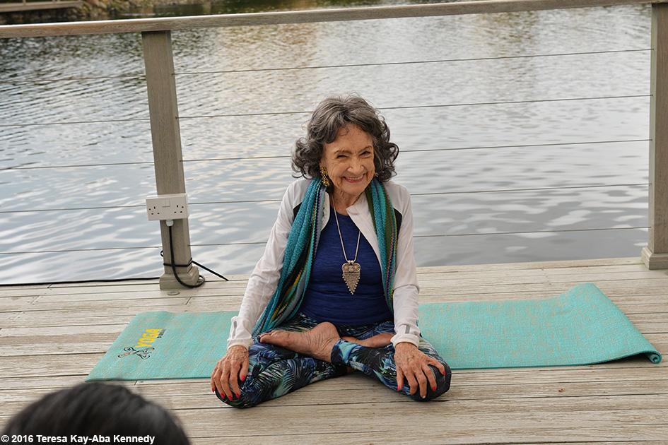 97-year-old Yoga Master Tao Porchon-Lynch teaching at Al Barari's Heart & Soul Spa during XYoga Dubai Festival – February 17, 2016