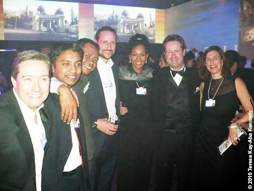 Francois-Philippe Champagne, Suhas Gopinath, Silverius Unggul, H.R.H. Crown Prince Haakon of Norway, Teresa Kay-Aba Kennedy, Christopher Logan and Kristen Forbes at the World Economic Forum Annual Meeting in Davos, Switzerland - January 2010