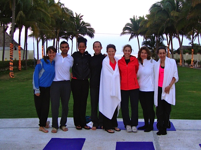 Young Global Leaders at the YGL Summit in Puerto Vallarta, Mexico after sunrise yoga with Teresa Kay-Aba Kennedy - April 2012