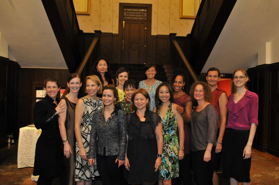 Teresa Kay-Aba Kennedy with fellow World Economic Forum Young Global Leaders at UBS Dinner in Singapore - October 2012